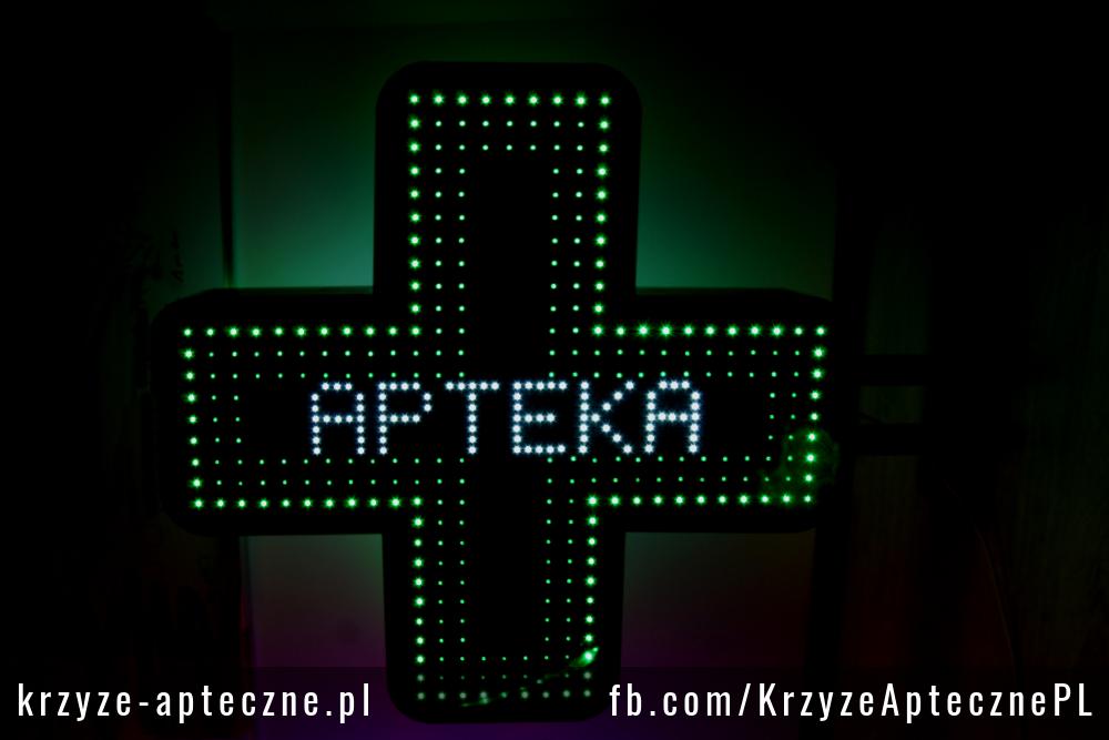Zielony krzyż apteczny LED z napisem Apteka